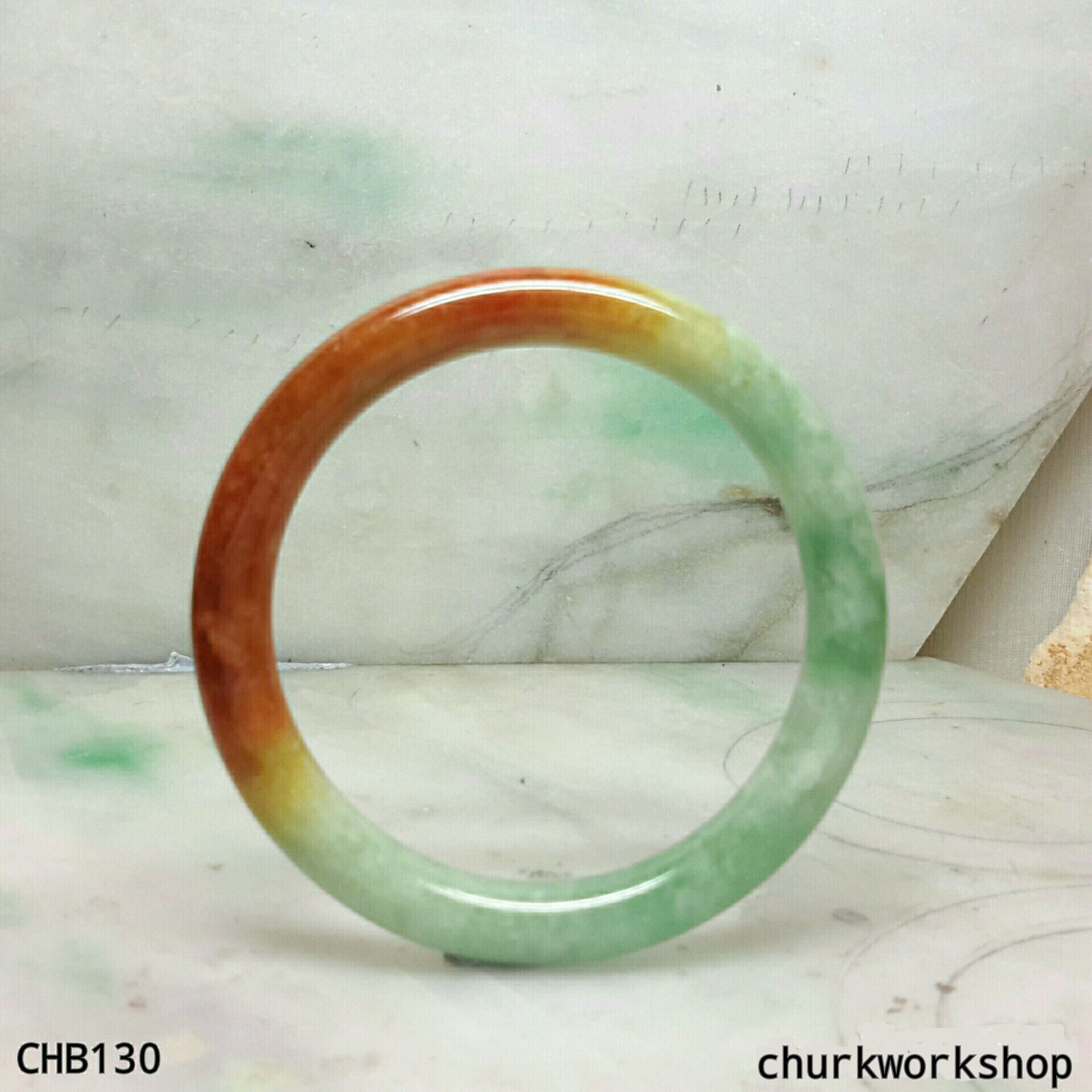 Multi Color Jade Bangle Red Green Fu Lu Shou Represent Lucky