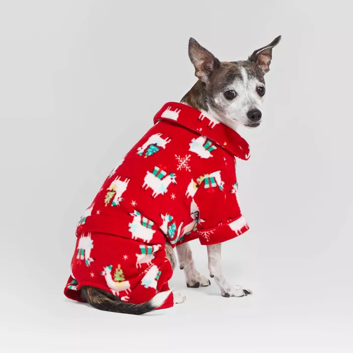 Holiday Llama Cat & Dog Pajamas Red M