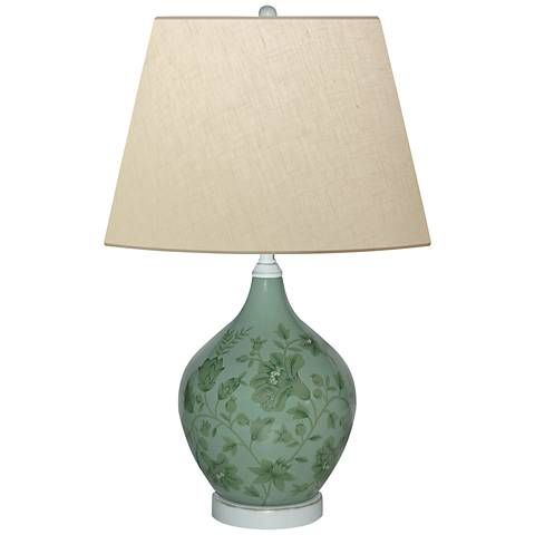 Smoky Olive Leaves Hand Painted Green Porcelain Table Lamp