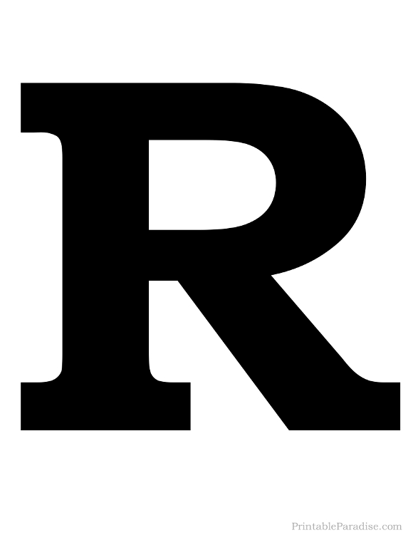 Printable Solid Black Letter R