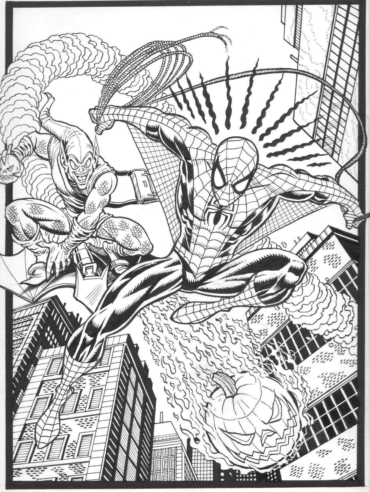 spiderman & green goblinsteven butler  spiderman art