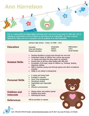 Baby Sitter Resume Babysitting Resume Template Work Sample Part Time
