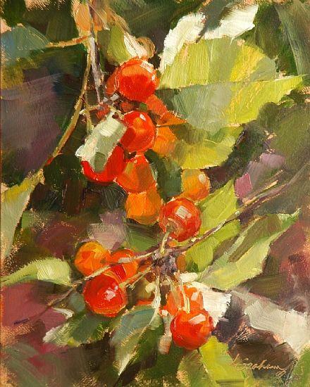 Cherries by Lindsey Bittner Graham Oil ~ 10 x 8