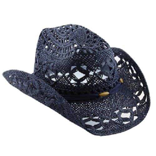 Straw Navy Blue Cowboy Hat for Women with Shapeable Brim Vamuss http   www 49d72e59ee3