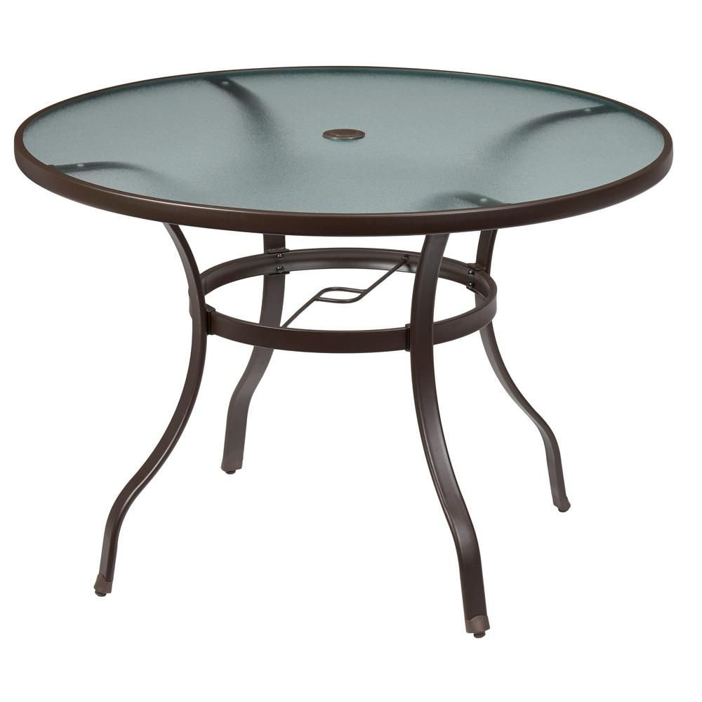 Hampton bay mix and match round metal outdoor dining table outdoor