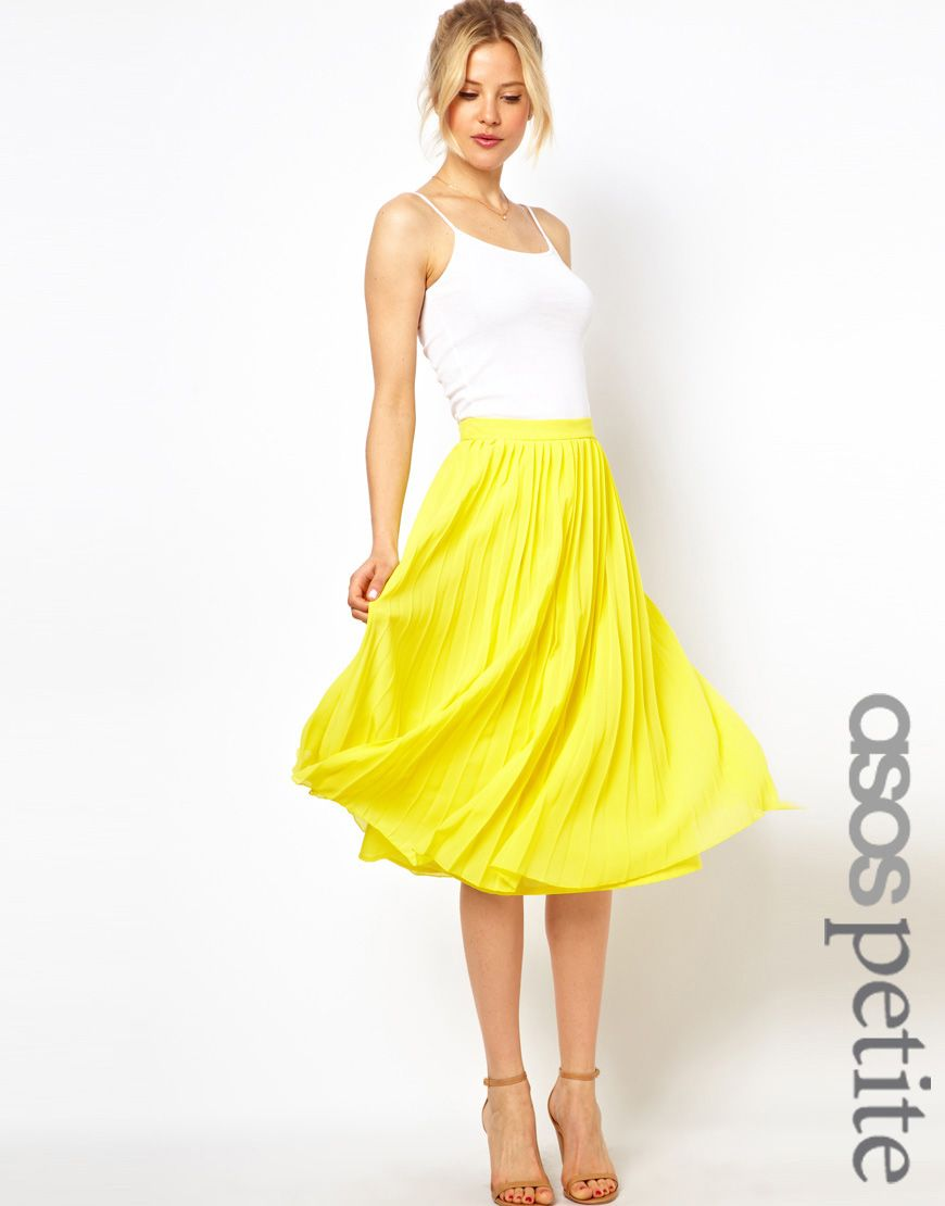 Who says yellow is just for Spring?! This pleated skirt is perfect to pair with burgundy or black for Fall! from ASOS under $50