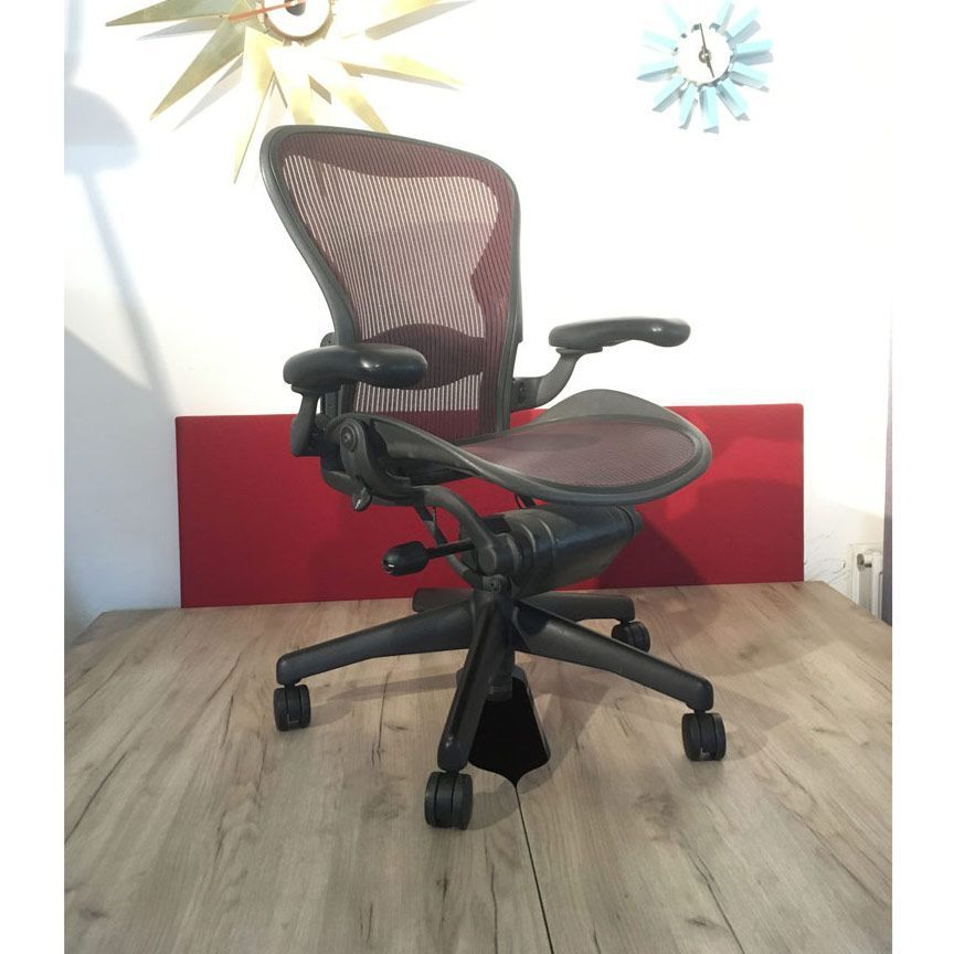 Used Herman Miller Aeron In Red Just In This Used Herman Mille In 2020 Ribbed Leather Office Chair Famous Furniture Designers Herman Miller Aeron Chair