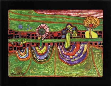 kunstdruck poster vorstadtzeile von friedensreich hundertwasser hundertwasser 1928 2000. Black Bedroom Furniture Sets. Home Design Ideas