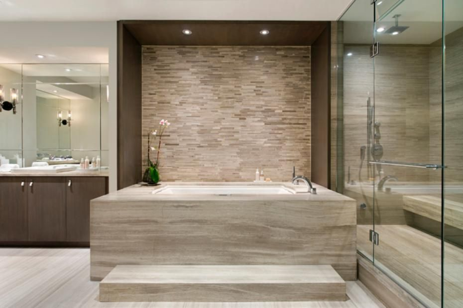 Large, luxurious bathtub makes this bathroom look (and feel) like a ...