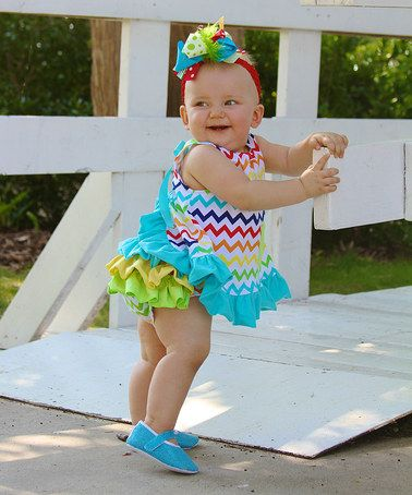 Take a look at this Turquoise Rainbow Zigzag Swing Tunic & Diaper Cover - Infant by Diva Daze on #zulily today!
