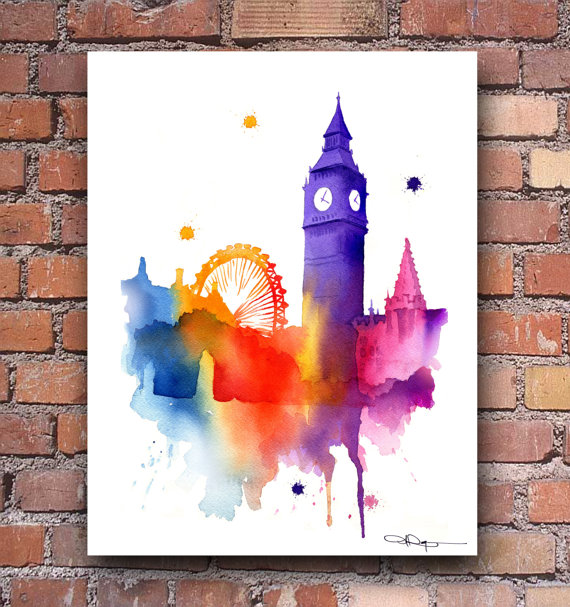 Big Canvas Art Modern Watercolor Abstract Ink Splash Big: Big Ben Watercolor Art Print