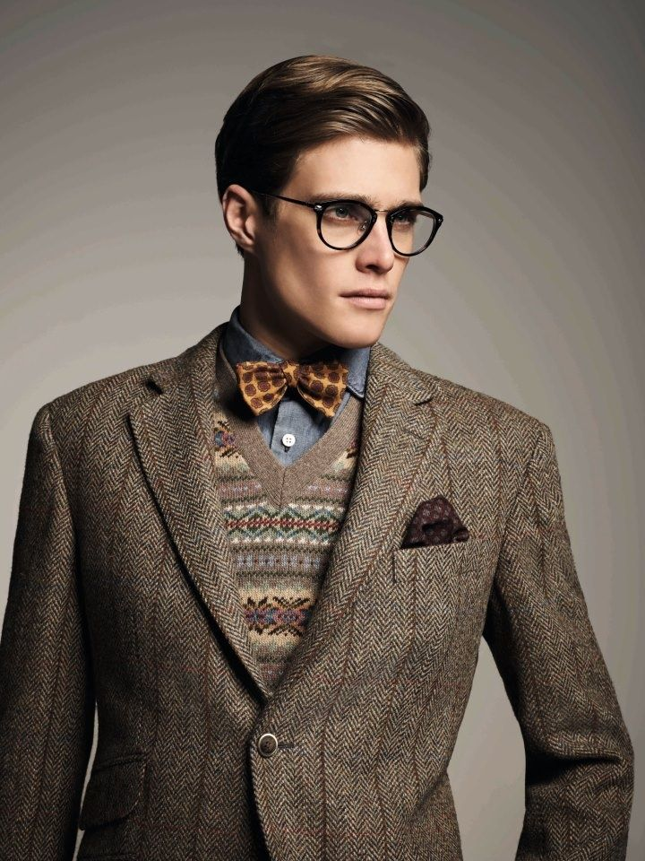 Bow tie, sweater vest, tweed, pocket square, glasses. | Cardigans ...