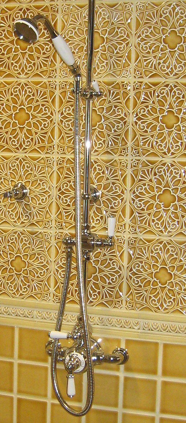 Bright Yellow Bathroom Status Ceramics Filigree Deco Tiles And 4x4 Field Tiles Glazed In Citr Bathroom Tile Inspiration Tile Inspiration Black And White Tiles