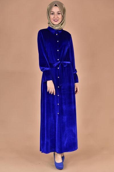 Boydan Dugmeli Kadife Elbise Saks Elbise Kadin Kiyafetleri Elbiseler