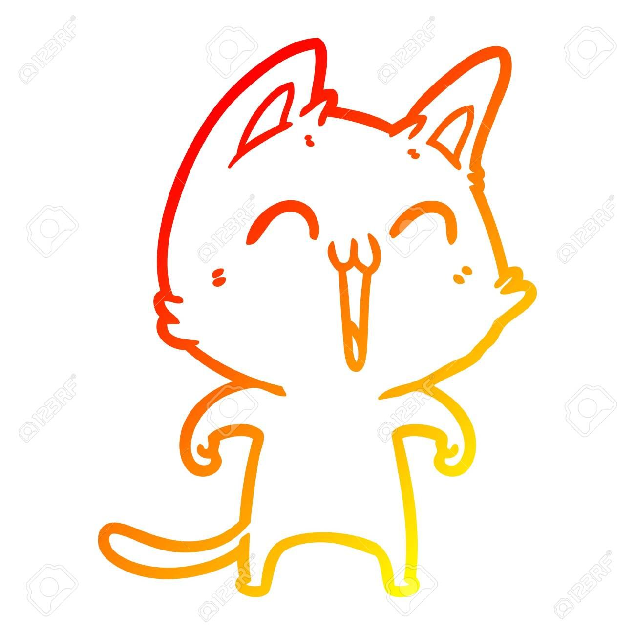 warm gradient line drawing of a happy cartoon cat meowing ,