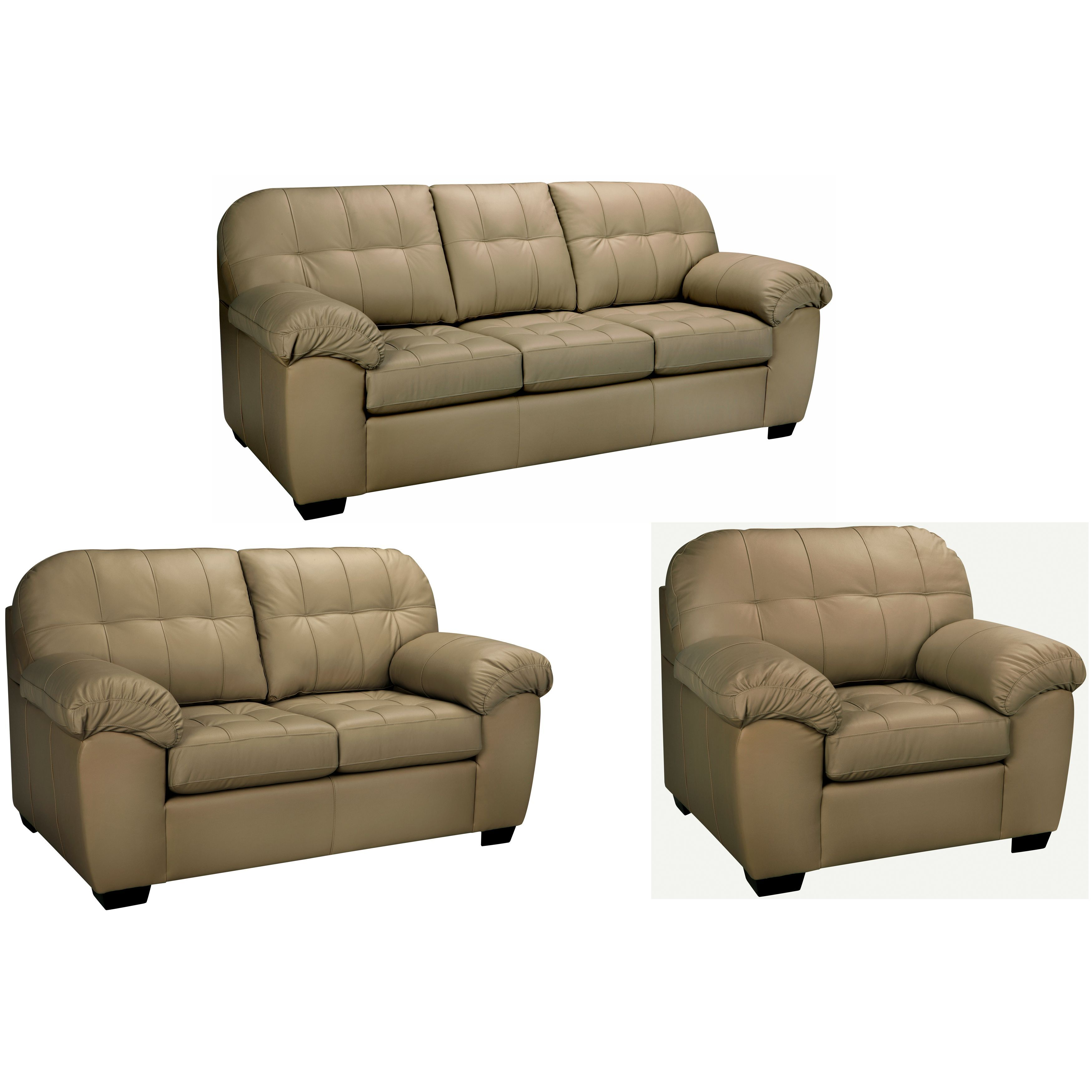 The Sophia Taupe Italian Leather Sofa Loveseat And Chair Are