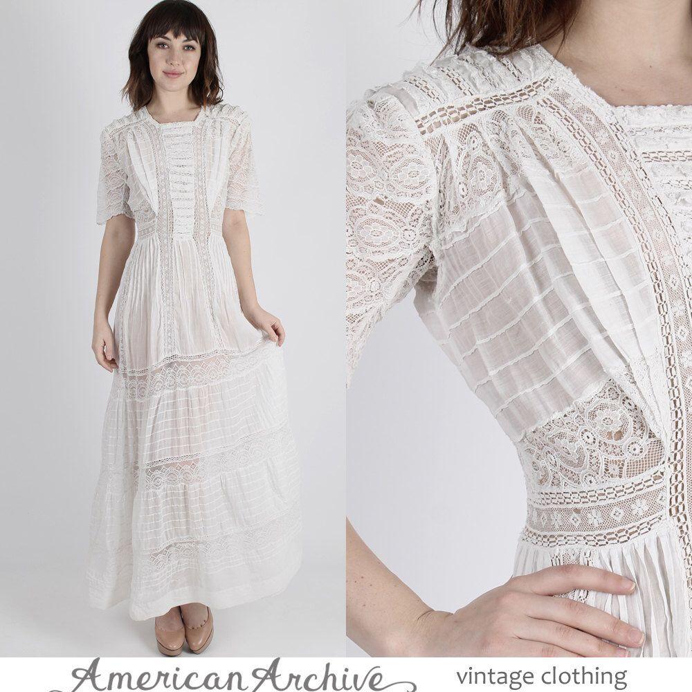 Edwardian dress victorian dress white wedding dress lace wedding