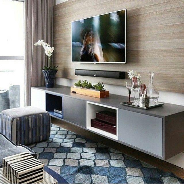 Sala De Tv Tipo Home ~  com painel suspenso, Tv console de decoração e Console de televisão