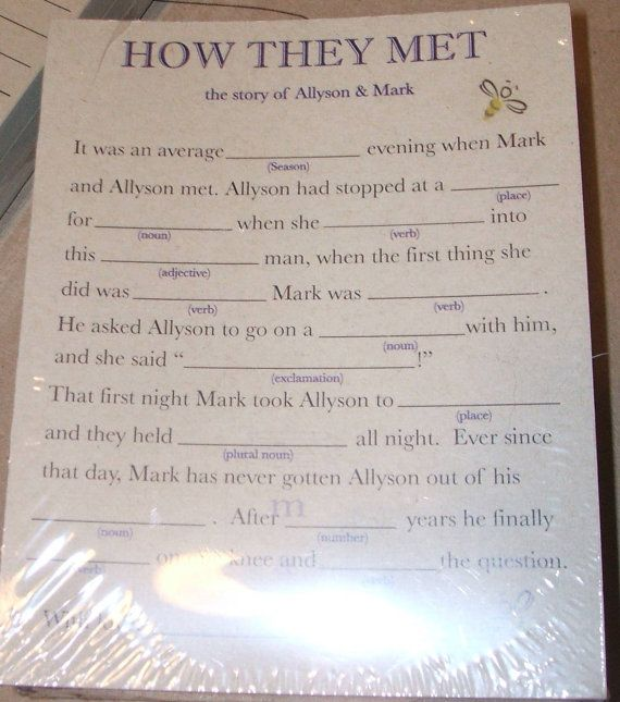 50 Custom Personalized Mad LIb game cards for rehearsal dinners ...