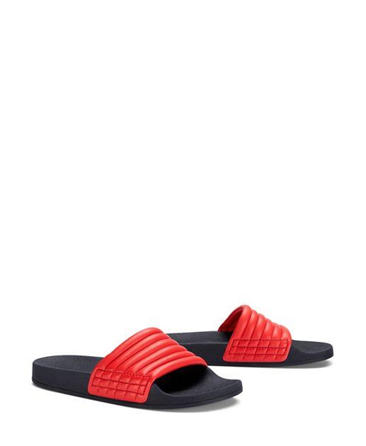 Red Tory Sport Leather Slide Sandals