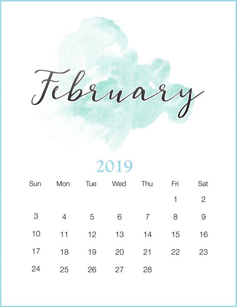 Watercolor 2019 February Printable Calendar Print calendars 2019