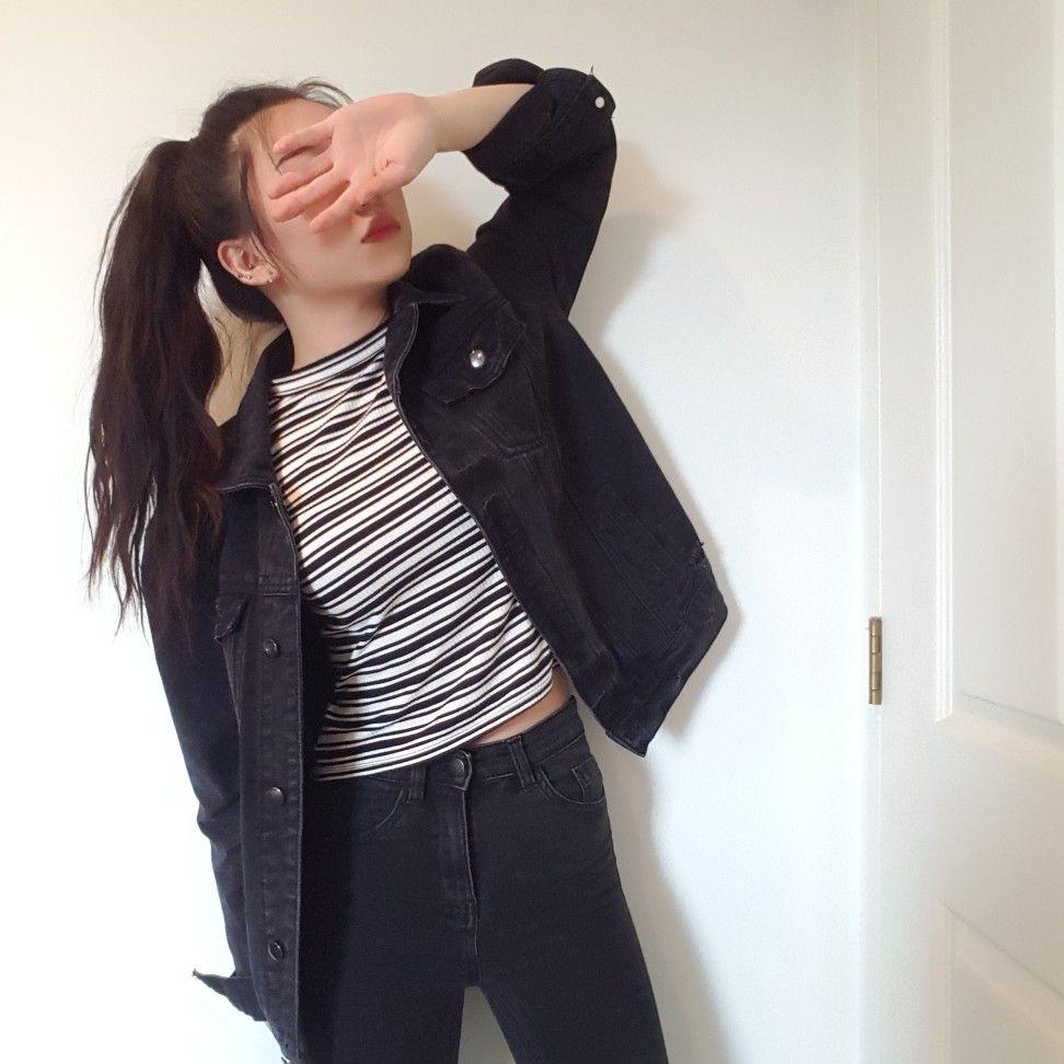 Pinterest Itsjme97 Black Denim Jacket Outfit Denim Street Style Casual Winter Outfits [ 972 x 972 Pixel ]