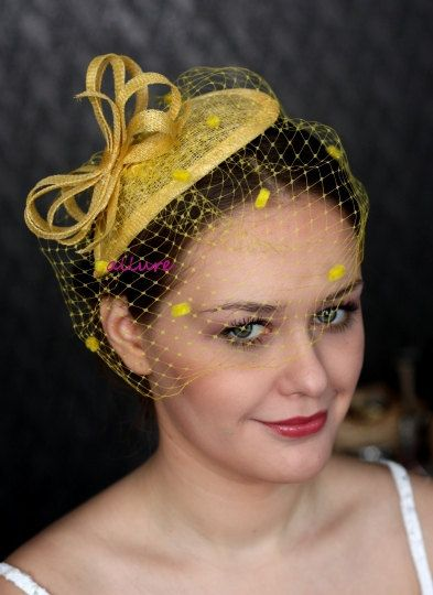 f9bbf31b368 Yellow FASCINATOR with veill dots birdcage veil by klaxonek