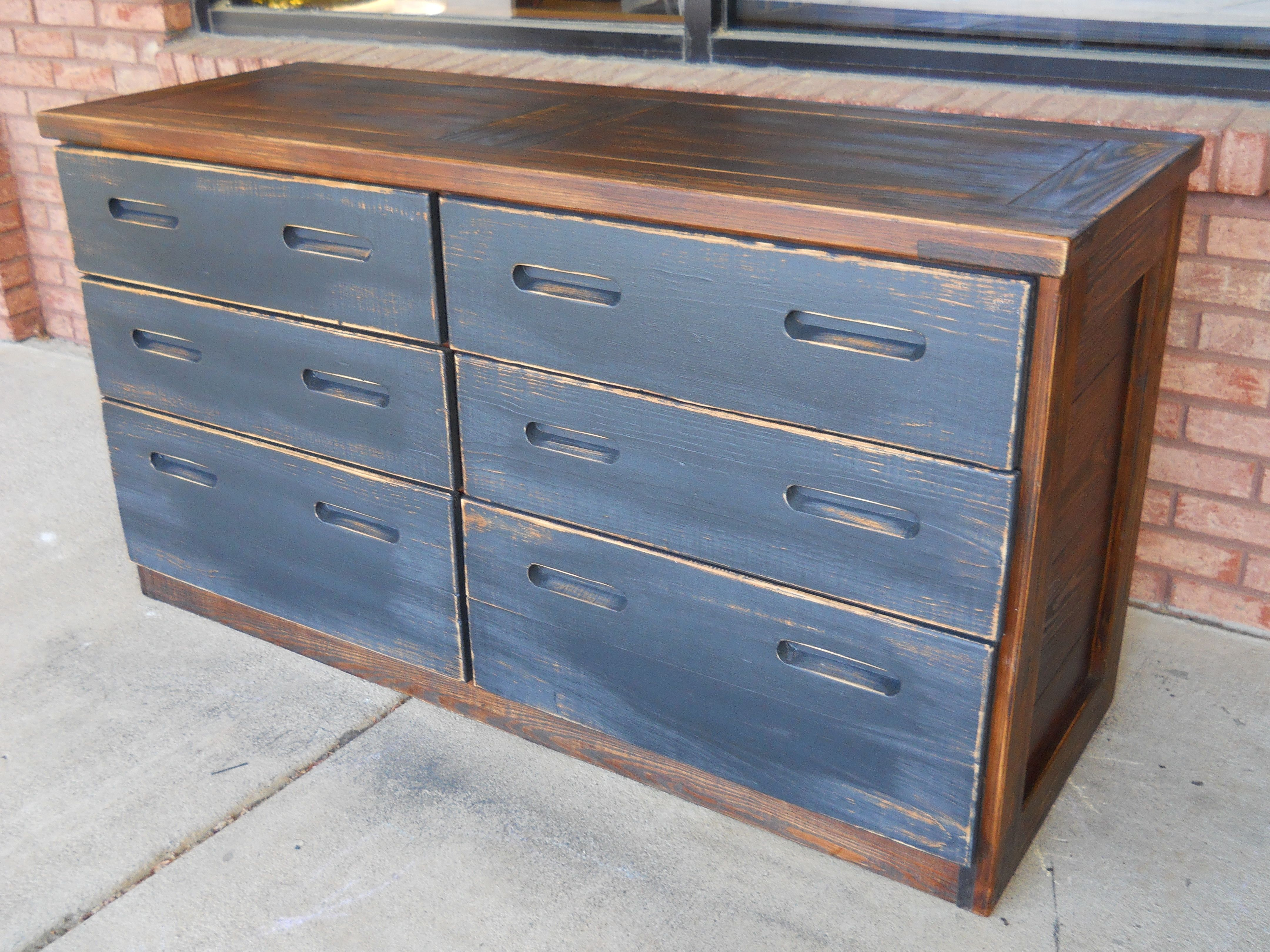 Stained Dresser w Chalkboard Drawer Fronts, customized here at the shop