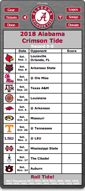 Alabama Crimson Tide Football Schedule Widget Alabama Crimson Tide Alabama Crimson Tide Football Alabama Football Schedule
