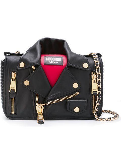 MOSCHINO Biker Shoulder Bag. #moschino #bags #shoulder bags #leather #