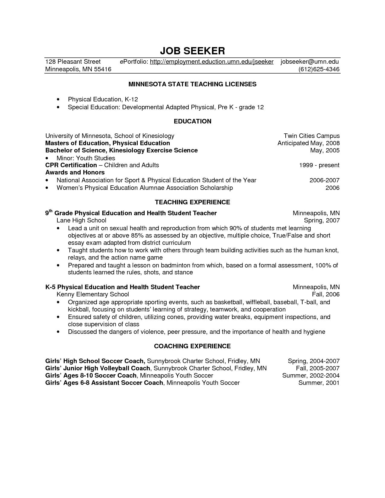 Health Education Jobs Mn Health Pinterest Resume Sample