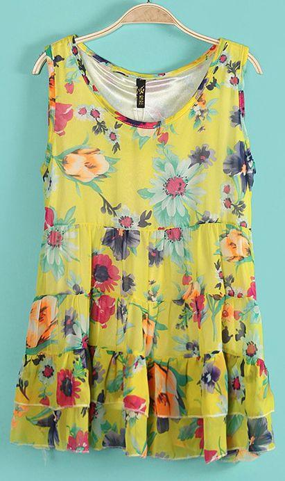 Sleeveless round collar print layered dress 5943 Yellow
