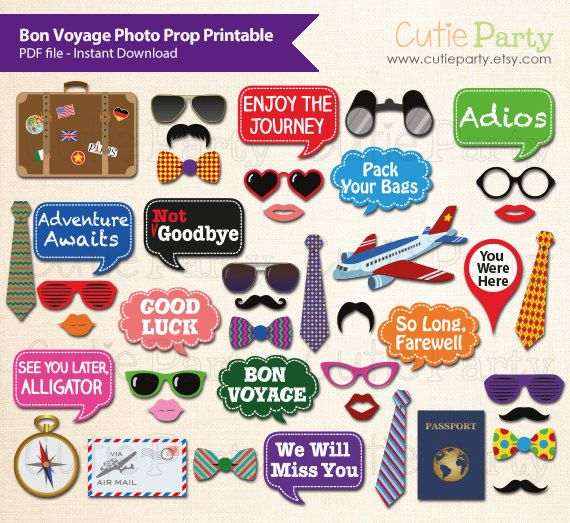 Bon Voyage Photo Booth Prop, Going Away Photo Booth Prop, Farewell
