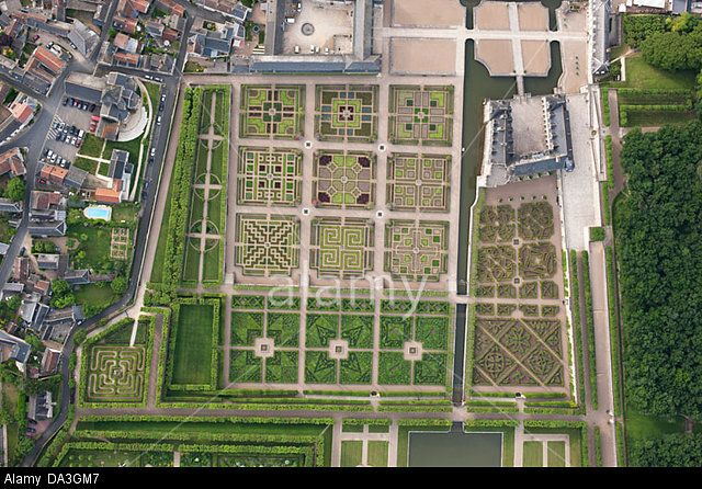 VILLANDRY CASTLE & GARDENS (vertical aerial view). Indre-et-Loire, Loire Valley, Centre, France. Stock Photo