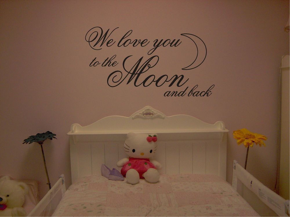 we love you to the moon and back wall art quote sticker decals