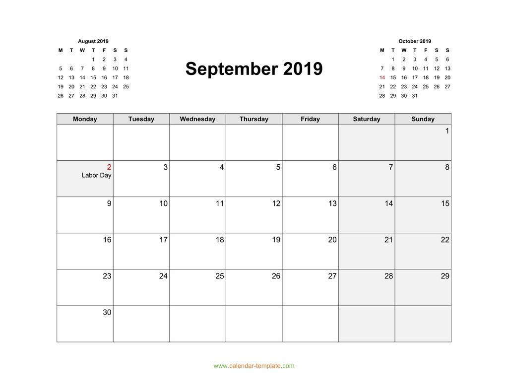 September 2019 Calendar Word Printable Calendar Pdf Printable