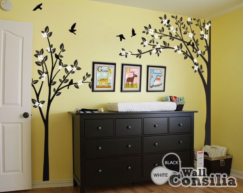 Black corner tree, smaller full tree with leaves and birds and cute ...
