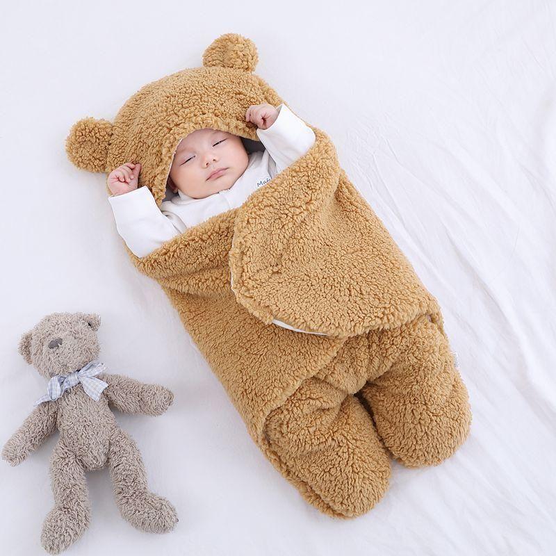 Baby Sleeping Bag Ultra-Soft Fluffy Fleece Newborn Receiving Blanket Infant Boys Girls ClothesSleeping Nursery Wrap Swaddle - Brown / 9 Month