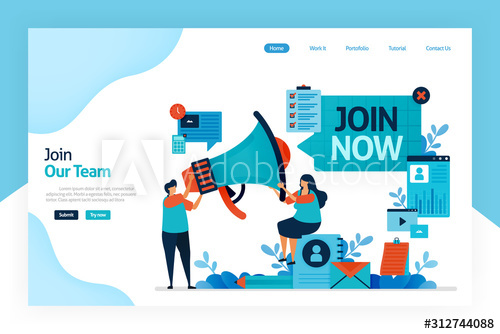 Landing Page Of Join Now Hiring And Open Recruitment Of Employee Referral Memberships Business Megaphone For Re Landing Page Motion Design Video Recruitment