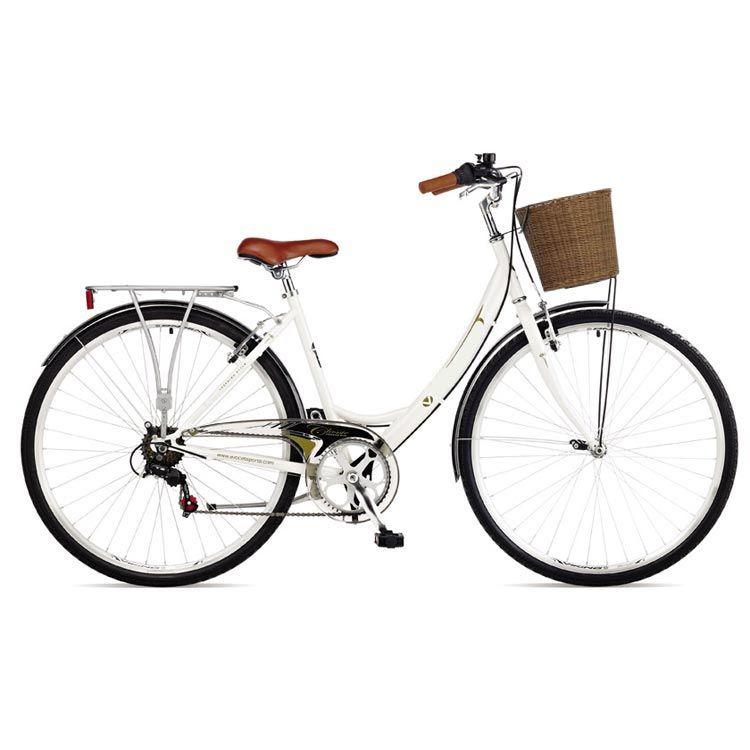 Viking Richmond Ladies Classic Heritage Hybrid Bike Basket Luggage Rack 700c Hybrid Bike White Bike Bicycle