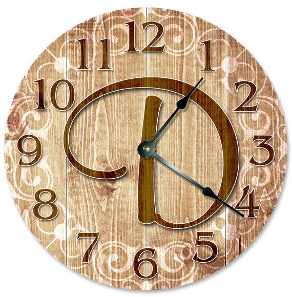 D MONOGRAM CLOCK Clock Large 10.5 inch Clock Novelty Clocks Wall ...