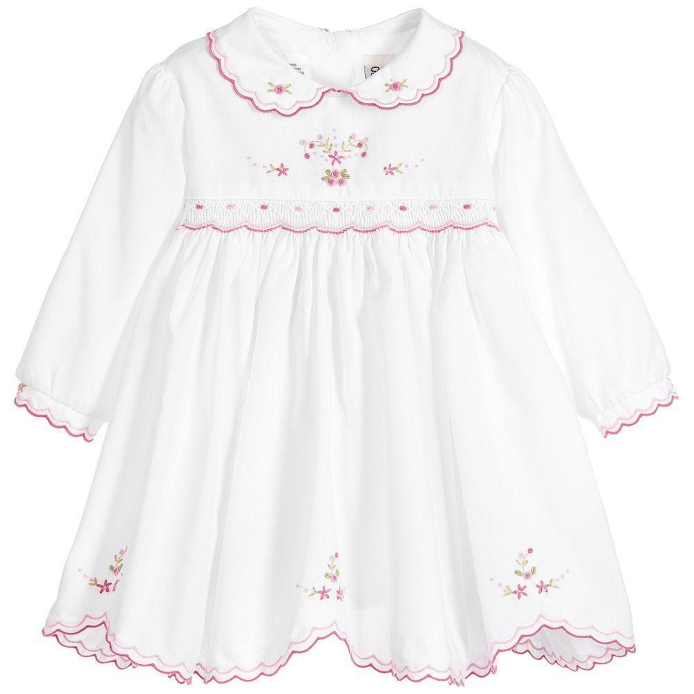 Baby Girls White & Pink Cotton Hand Smocked Dress
