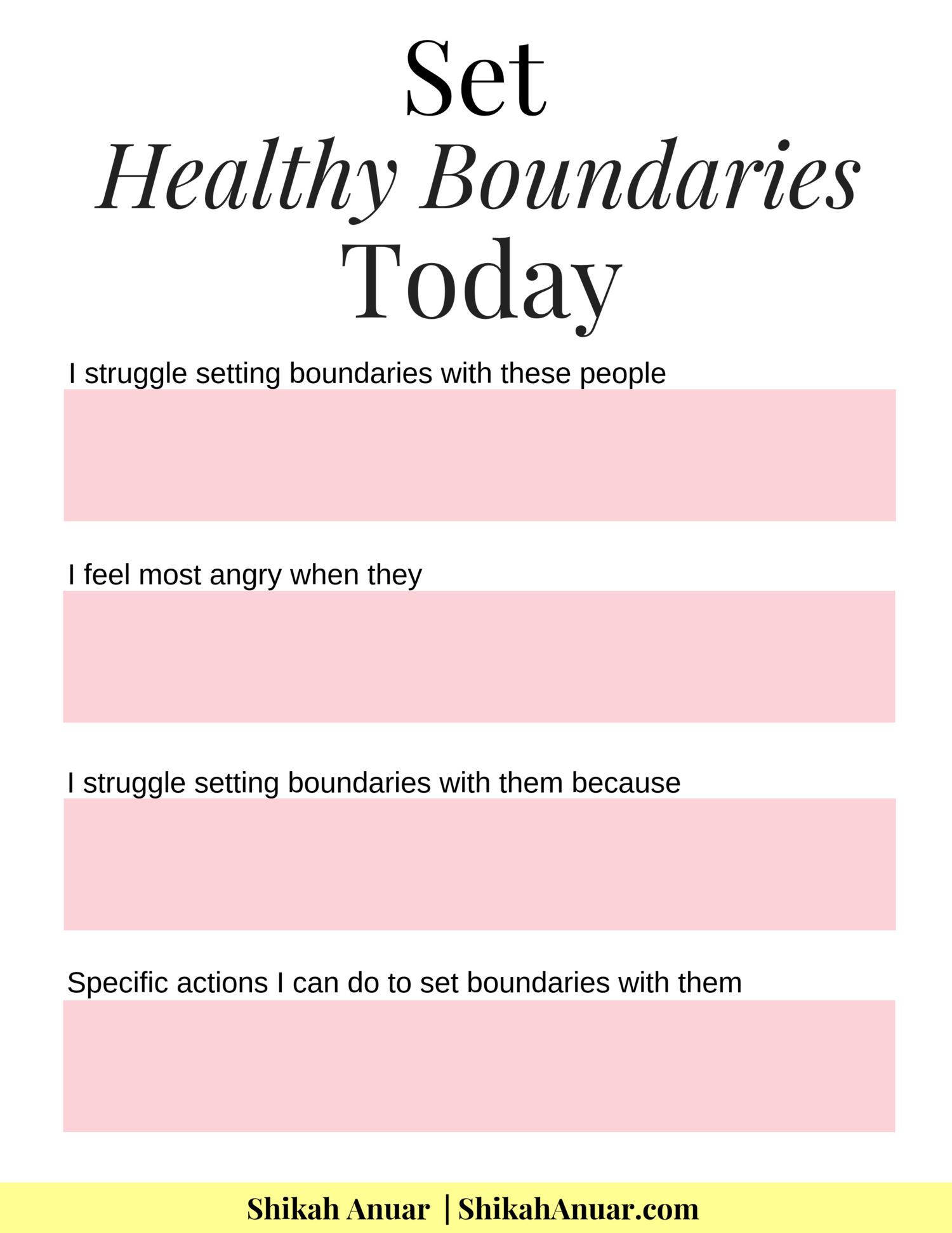 Free Printable Set Healthy Boundaries Today