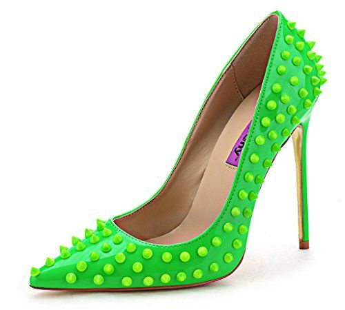 SFCSFLY Womens Fashion Rivet Studded Stiletto Pointed Toe High Heel For Wedding Party Pumps Shoes  A5O15HD08