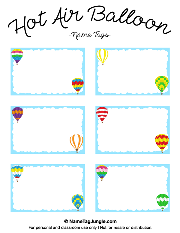 Name Tag Template Free Printable Free Printable Hot Air Balloon Name Tags.  Name Labels Templates Free