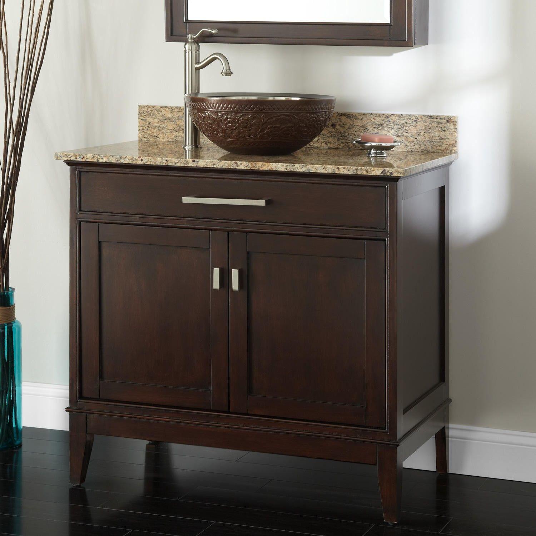36 Madison Vessel Sink Vanity Light Espresso Bathroom