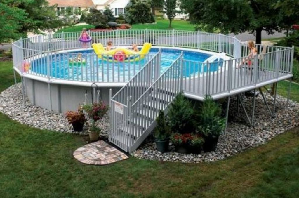 Exterior Delightful Swimming Pool Backyard Landscaping Design And Decoration U Above Ground Pool Landscaping Above Ground Swimming Pools Pool Landscape Design