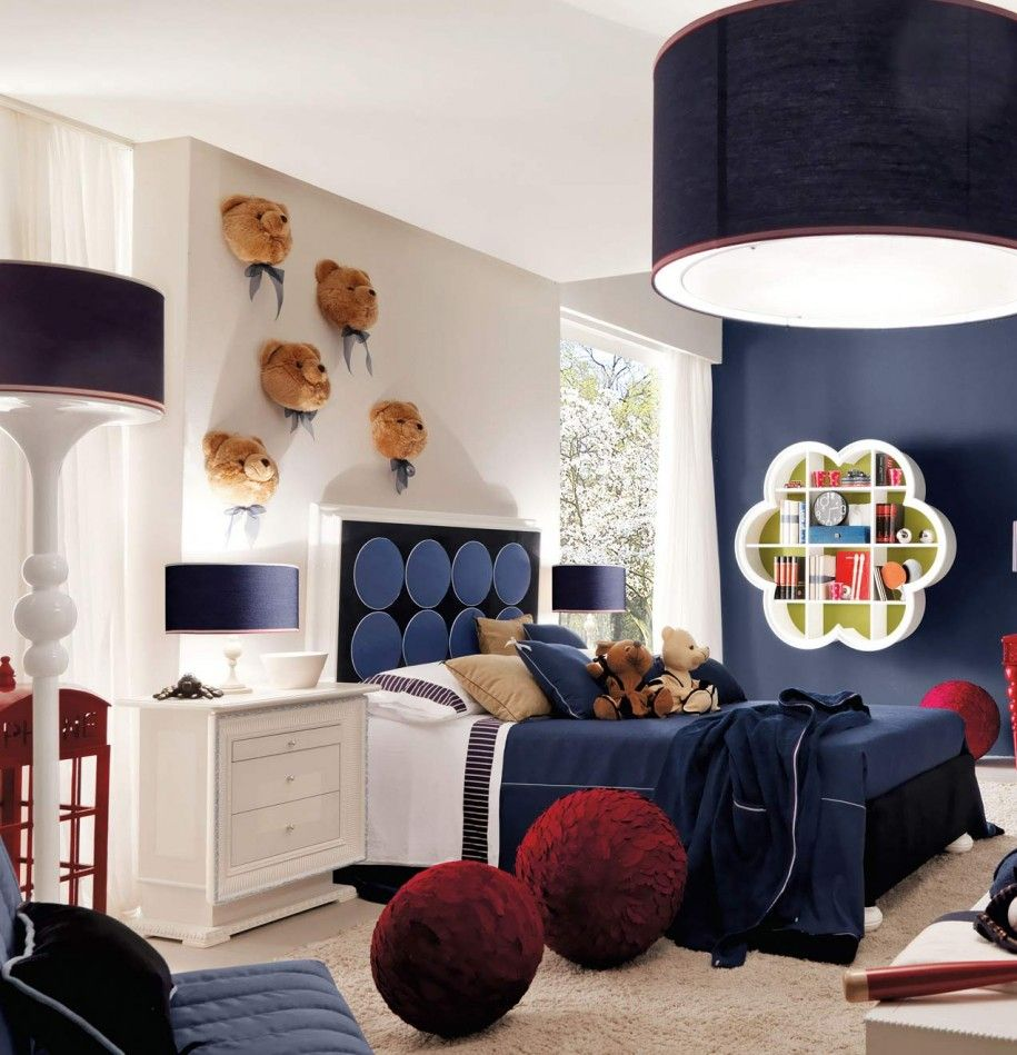 Teens Boys Bedroom Ideas Provoking Cool And Stylish Interior : Cozy Boys  Room In White And Navy Blue Decorated With Sleek Wall Decor And Bedding  Design ...