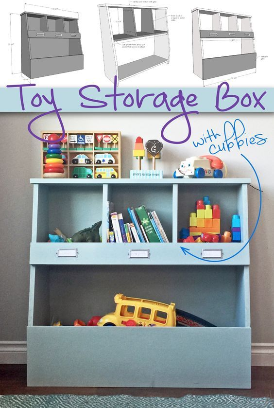 Toy Bin Box with Cubby Shelves