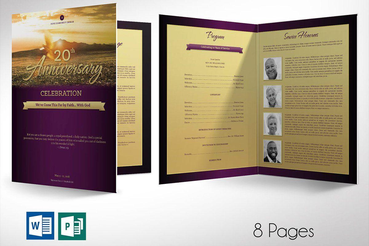 Church Anniversary Program Lrge Word 2020 Publisher Templates